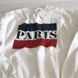 Brandy Melville/John Galt white Paris sweatshirt
